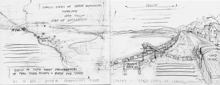 "Process sketch for ""Empire Builder"" artist book by Chandler O'Leary and Carol Inderieden"