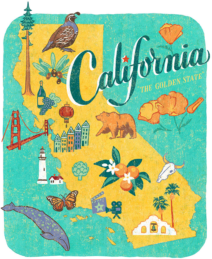 "From the ""50 States"" series: California illustration by Chandler O'Leary"