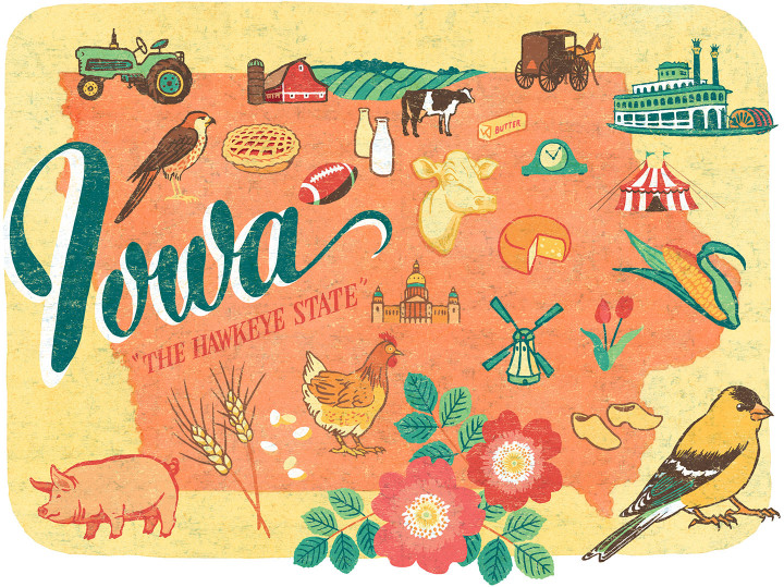 Iowa illustration by Chandler O'Leary