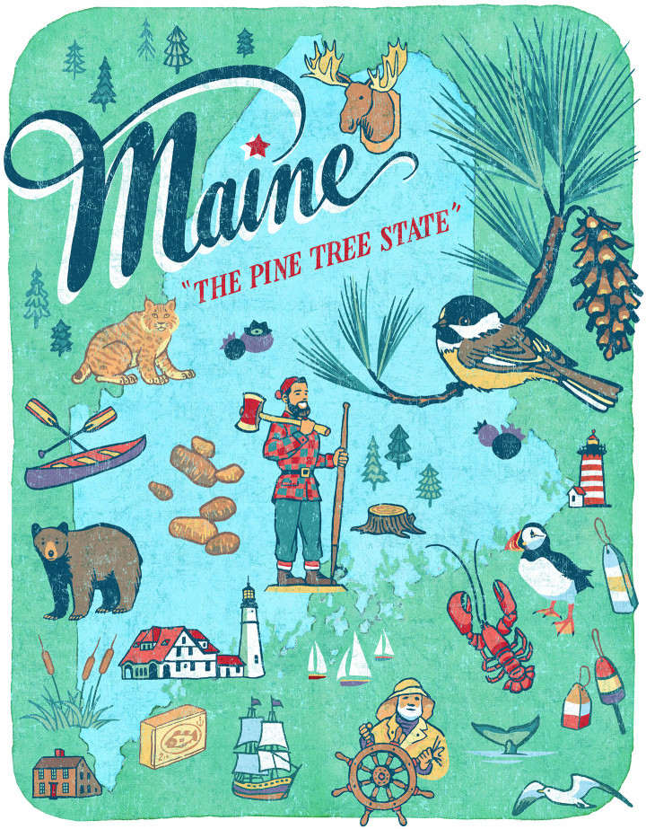 Maine illustration by Chandler O'Leary
