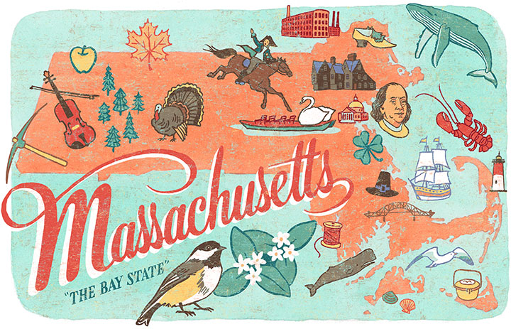 "From the ""50 States"" series: Massachusetts illustration by Chandler O'Leary"