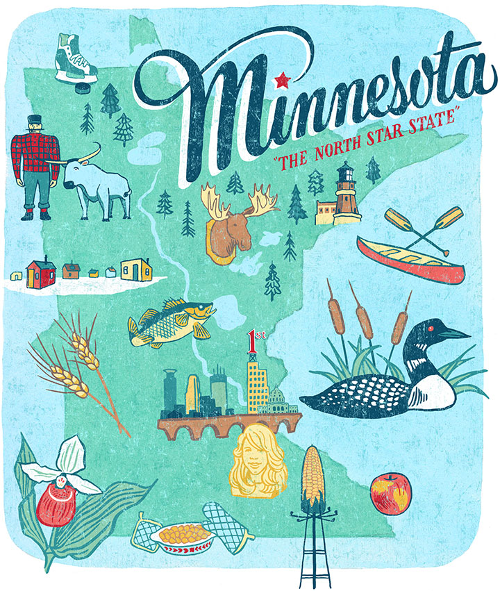"From the ""50 States"" series: Minnesota illustration by Chandler O'Leary"