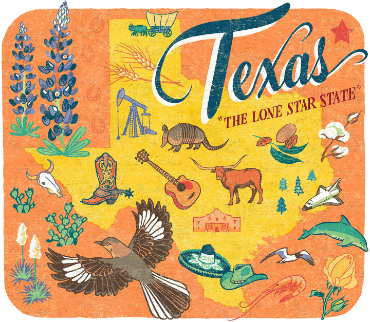 Texas illustration by Chandler O'Leary