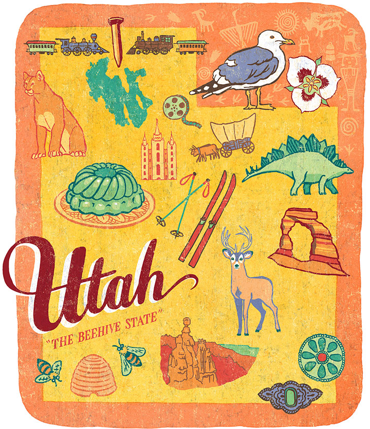 "From the ""50 States"" series: Utah illustration by Chandler O'Leary"
