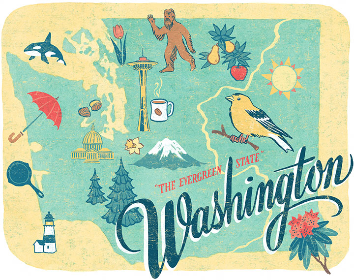 "From the ""50 States"" series: Washington illustration by Chandler O'Leary"