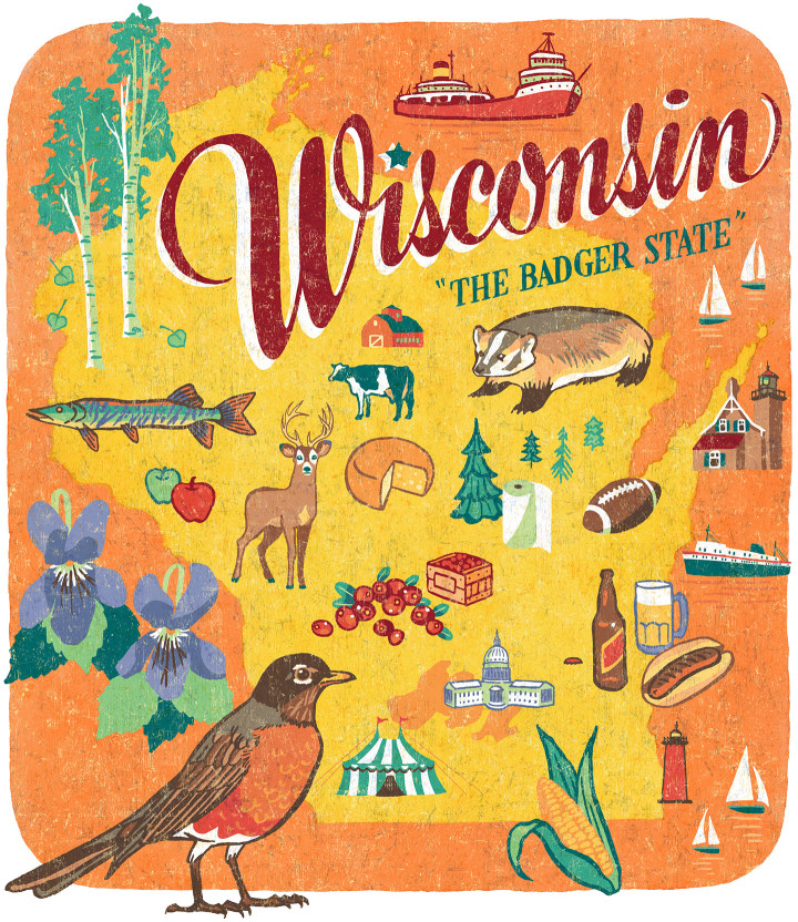 Wisconsin illustration by Chandler O'Leary