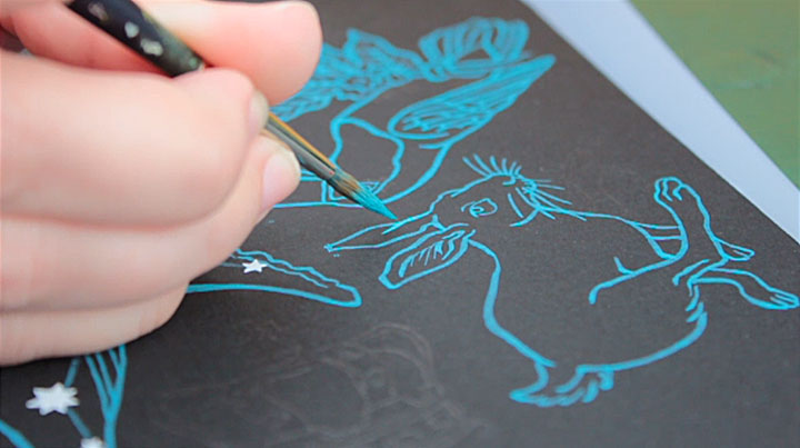 Process photo of constellation pattern illustrated by Chandler O'Leary