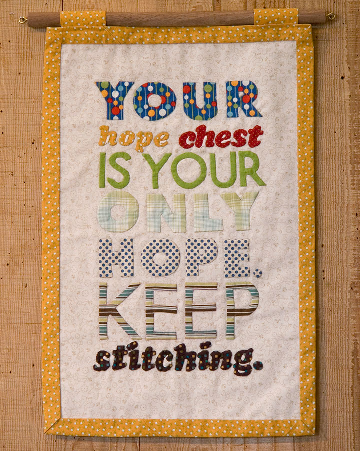 """""""Hope Chest"""" hand-appliqued textile broadside by Chandler O'Leary"""