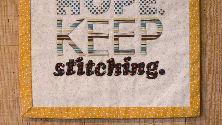 """Detail of """"Hope Chest"""" hand-appliqued textile broadside by Chandler O'Leary"""