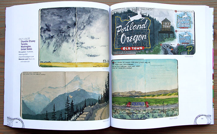 """A World of Artist Journal Pages"" book, featuring sketchbook drawings by Chandler O'Leary"