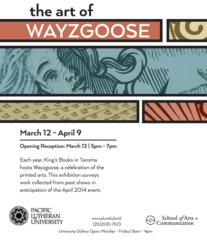 """Art of the Wayzgoose"" exhibition flyer featuring artwork by Chandler O'Leary and Jessica Spring"