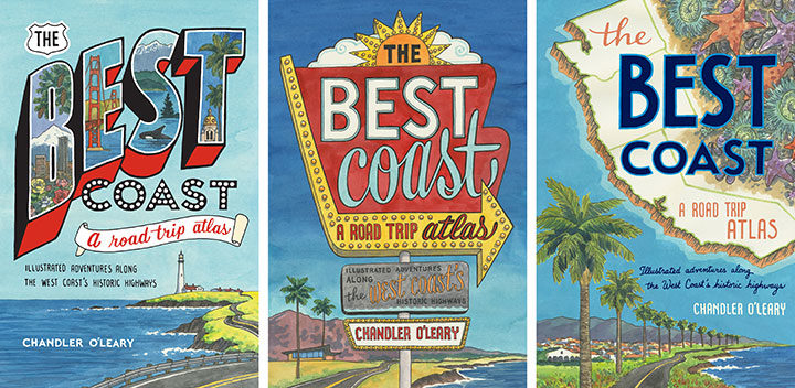 """Process illustrations for """"The Best Coast"""" book by Chandler O'Leary"""