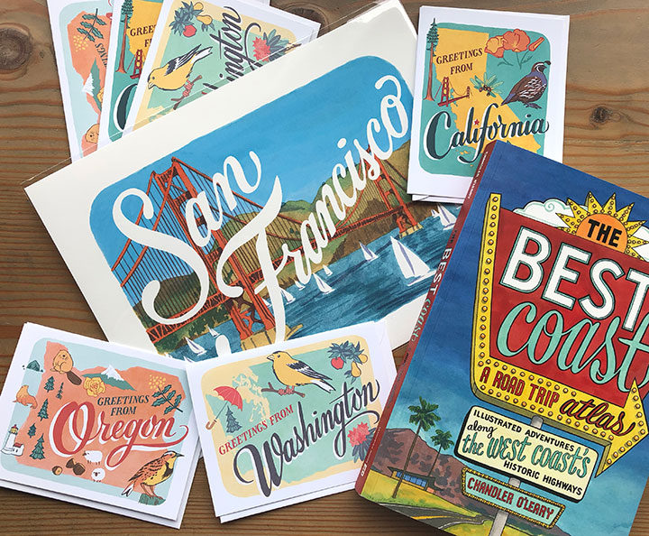 """Illustrations, cards, prints and """"The Best Coast"""" book by Chandler O'Leary"""