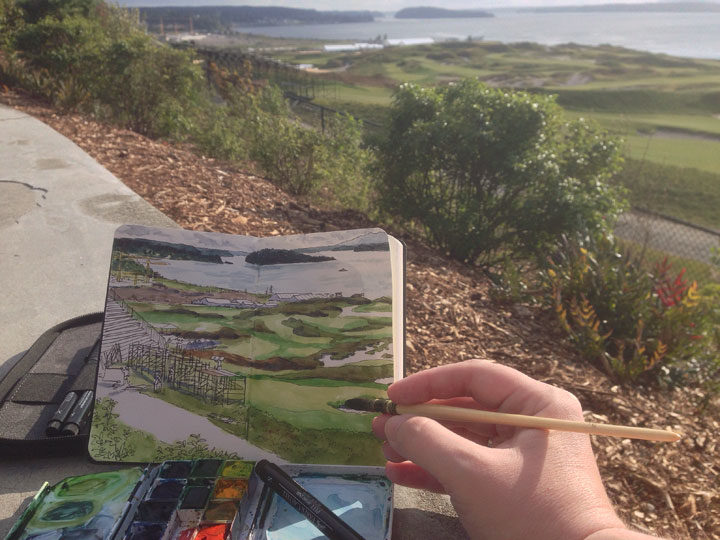 In-progress photo of Chambers Bay Golf Course sketch by Chandler O'Leary