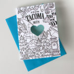 Tacoma adult coloring card illustrated and hand-lettered by Chandler O'Leary