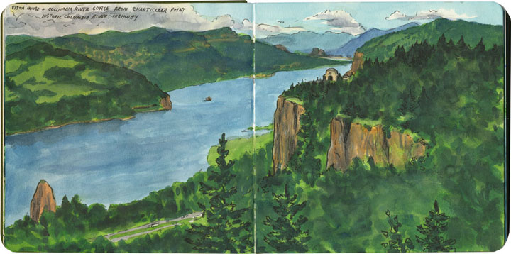 Columbia River sketch by Chandler O'Leary