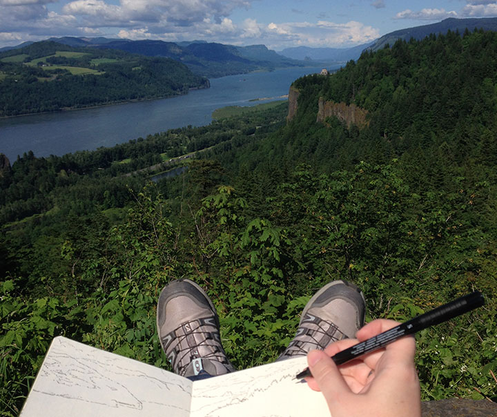 Columbia River Gorge photo and sketch by Chandler O'Leary