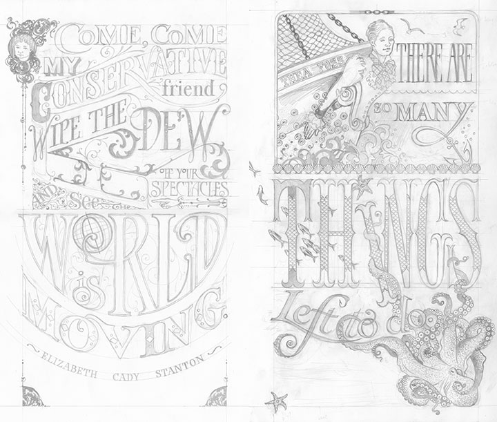"Process pencil drawings for ""Come Come"" and ""Tugboat Thea"" letterpress broadsides by Chandler O'Leary and Jessica Spring"