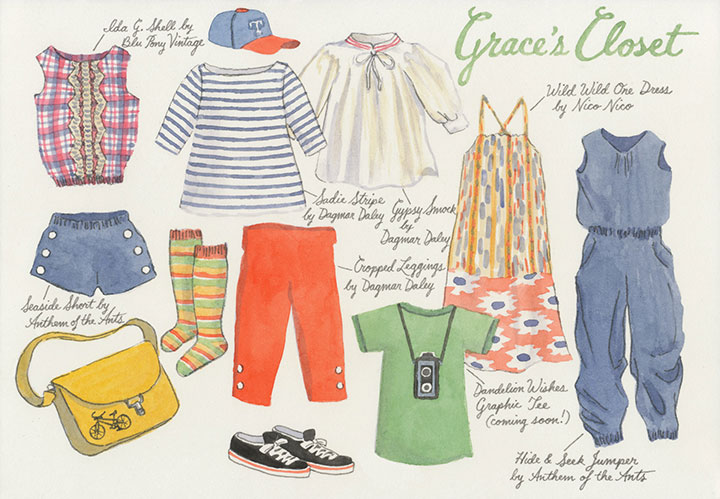 """Dandelion Wishes children's apparel """"closet"""" illustration by Chandler O'Leary"""