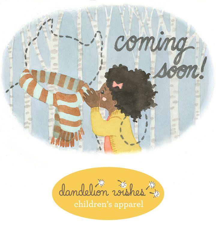 Dandelion Wishes children's apparel logo and illustration by Chandler O'Leary