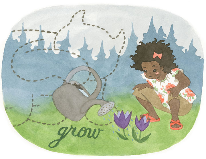 """Dandelion Wishes children's apparel """"Spring"""" illustration by Chandler O'Leary"""