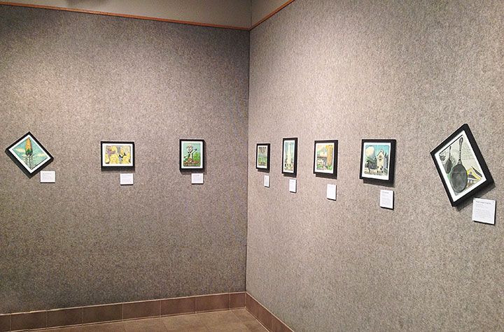 "Installation photo of ""Drawn the Road Again"" exhibition by Chandler O'Leary"
