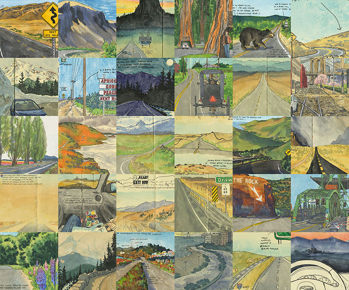 Collage of road sketches by Chandler O'Leary