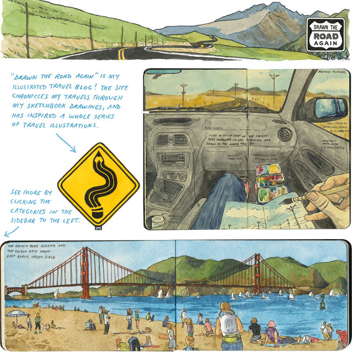 """""""Drawn the Road Again"""" is an illustrated travel blog by Chandler O'Leary"""