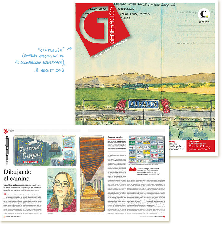 "Feature on ""Drawn the Road Again"" by Chandler O'Leary in ""Generacíon"" magazine"