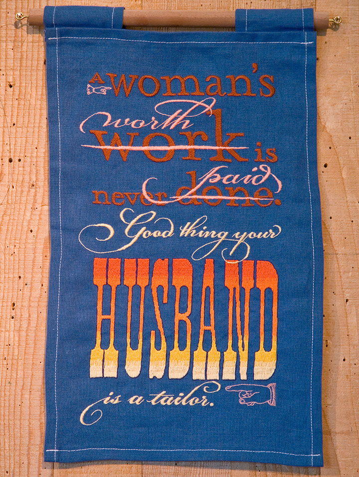 """""""Seamstress"""" hand-embroidered textile broadside by Chandler O'Leary"""