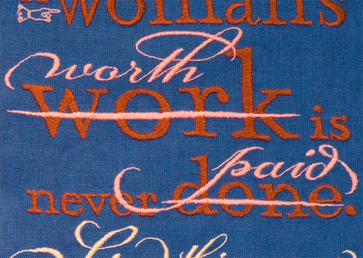 """Detail of """"Seamstress"""" hand-embroidered textile broadside by Chandler O'Leary"""