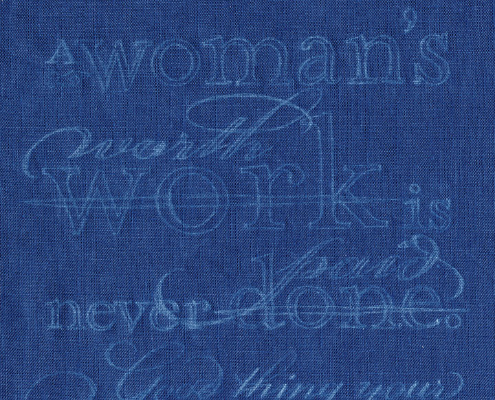 """Process photo of """"Seamstress"""" hand-embroidered textile broadside by Chandler O'Leary"""