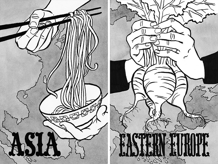 """""""Entrée!"""" cookbook illustrated by Chandler O'Leary"""