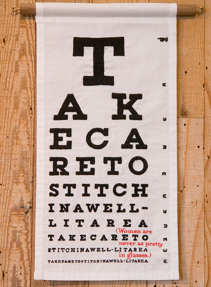 """""""Eye Chart"""" hand-embroidered textile broadside by Chandler O'Leary"""