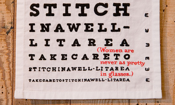 """Detail of """"Eye Chart"""" hand-embroidered textile broadside by Chandler O'Leary"""