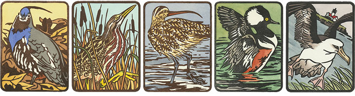 """Flock"" hand-painted bird linocut prints by Chandler O'Leary"