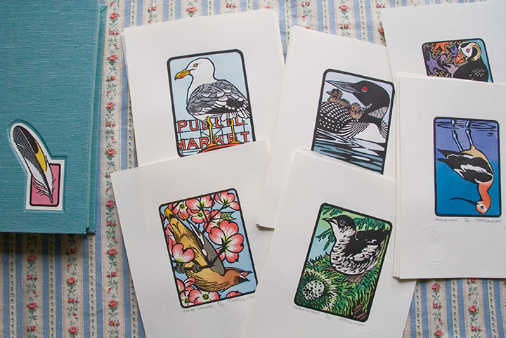 """Flock"" artist book and hand-painted bird linocut prints by Chandler O'Leary"