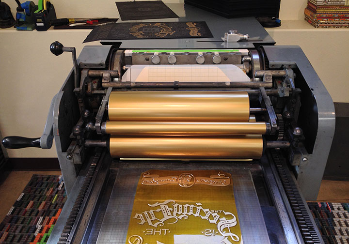 "In-progress photo of ""Focal Point"" letterpress broadside by Chandler O'Leary and Jessica Spring"