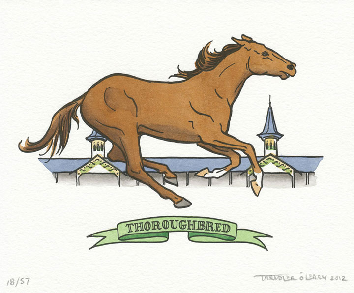 Thoroughbred horse illustrated and letterpress printed by Chandler O'Leary