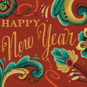 Happy New Year rosemaling holiday card illustrated and hand-lettered by Chandler O'Leary