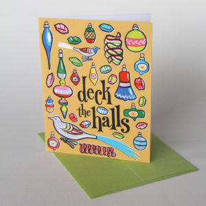 Vintage Ornaments holiday card illustrated and hand-lettered by Chandler O'Leary