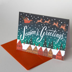 Santa & Reindeer holiday card illustrated and hand-lettered by Chandler O'Leary
