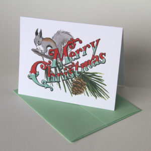 Squirrel & Pine holiday card illustrated and hand-lettered by Chandler O'Leary