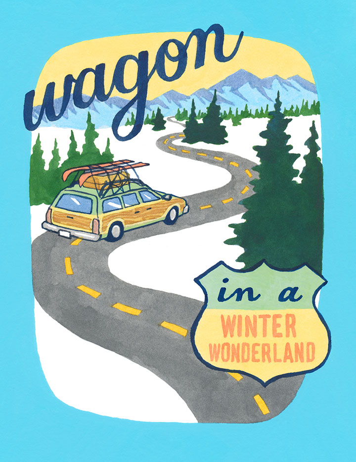 """Wagon in a Winter Wonderland"" holiday card by Chandler O'Leary"