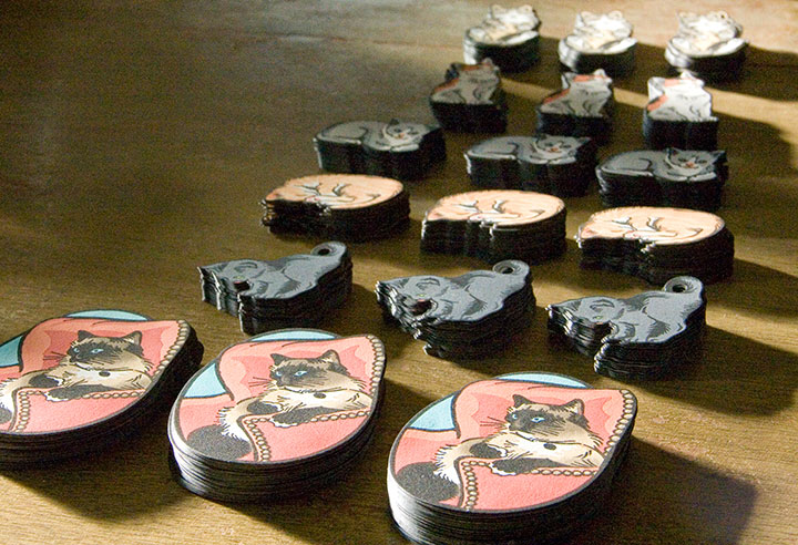 """""""Itty Bitty Kitty Committee"""" holiday ornaments illustrated and letterpress printed by Chandler O'Leary"""