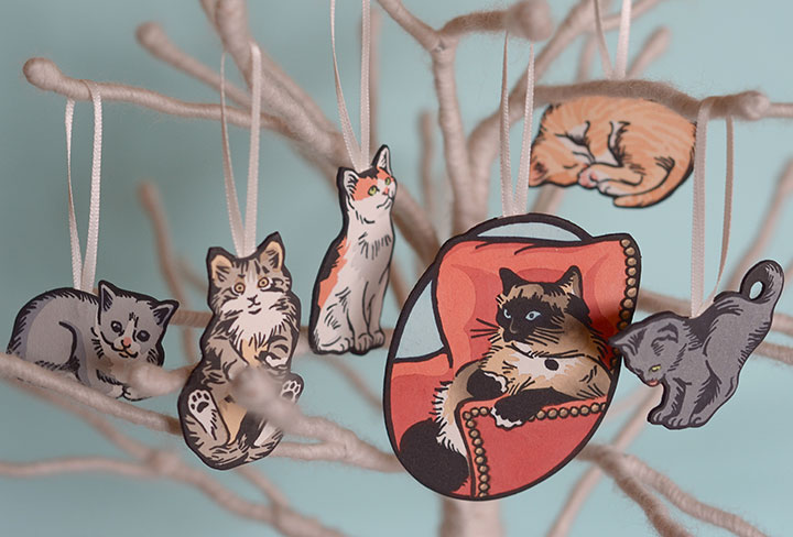 """Itty Bitty Kitty Committee"" holiday ornaments illustrated and letterpress printed by Chandler O'Leary"