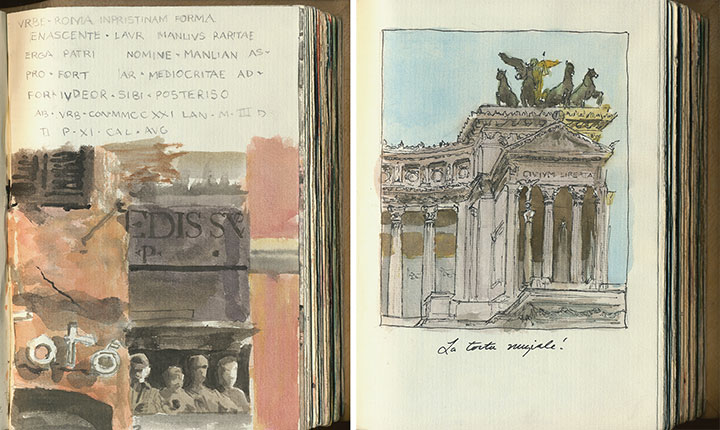 Rome, Italy sketchbook drawings by Chandler O'Leary