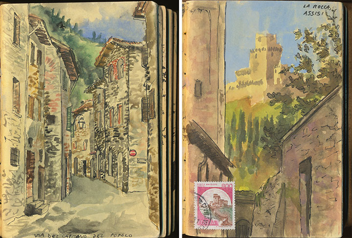 Gubbio & Assisi, Italy sketchbook drawings by Chandler O'Leary