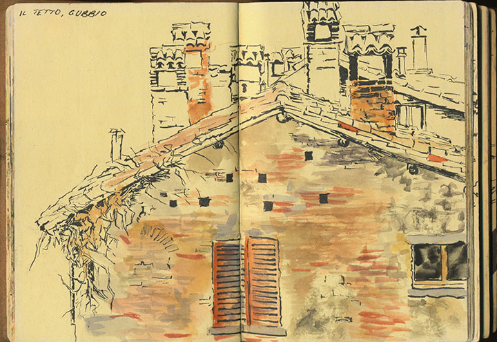 Gubbio, Italy sketchbook drawing by Chandler O'Leary