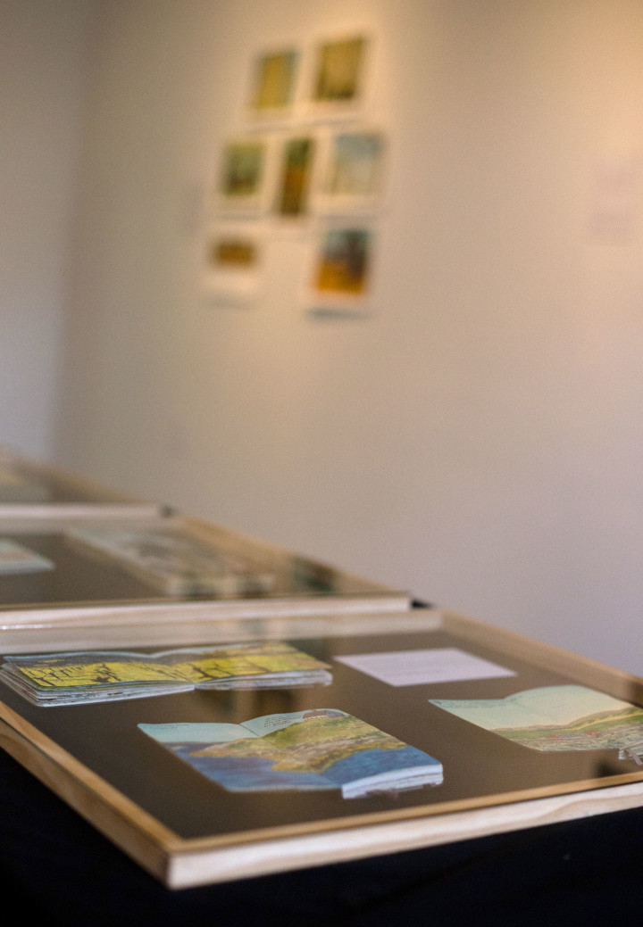 """""""Jaunt + Jot"""" exhibition featuring sketchbook drawings by Chandler O'Leary. Photo by Shawn H. Nichols, taken at the Artist Trust on Tour: Tacoma event."""
